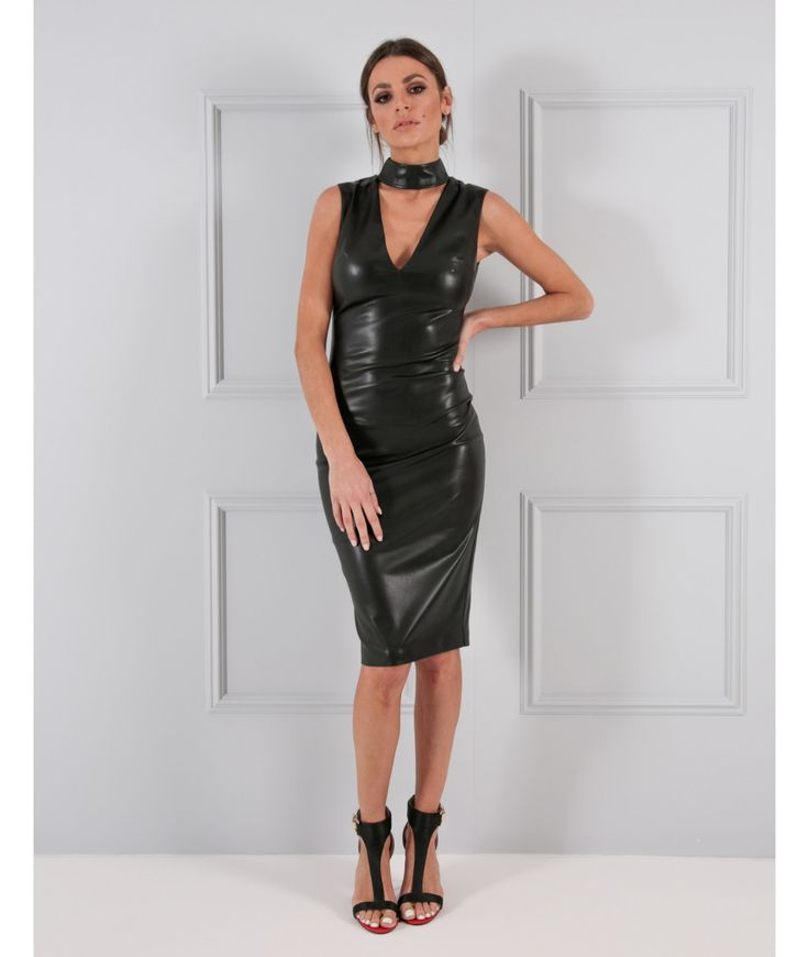 A favourite of our Design Director and Real Housewiveメs of Cheshire star Seema, this black PU bodycon dress is the must-have LBD of the moment. Complete with this season's popular choker design, our Izzy dress is designed to make you turn heads and will flatter your frame to a tee. Accessorise with a chunky bracelet and embellished clutch bag for perfect evening style.
