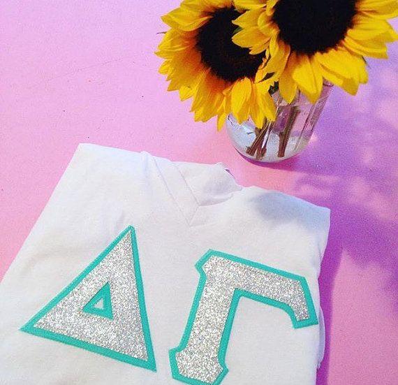 Custom glitter greek letter sorority tee by andshewillbelettered on Etsy