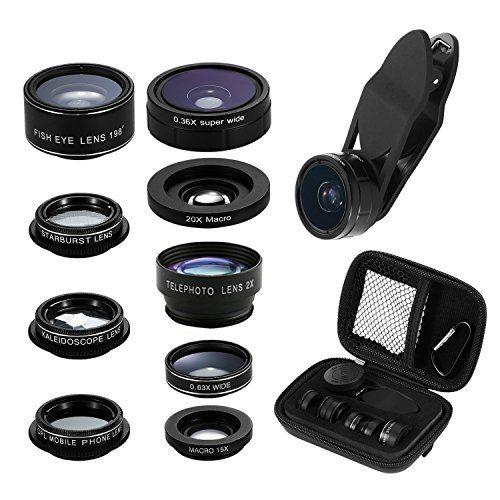 Phone Camera Lens Kit, 9 in 1 Zoom Universal Telephoto Lens+198° Fisheye lens + 0.36 Super Wide Angle Lens + 0.63X Wide Lens +20X Macro Lens + 15X Macro Lens + CPL + Kaleidoscope Lens + Starburst Lens  https://topcellulardeals.com/product/phone-camera-lens-kit-9-in-1-zoom-universal-telephoto-lens198-fisheye-lens-0-36-super-wide-angle-lens-0-63x-wide-lens-20x-macro-lens-15x-macro-lens-cpl-kaleidoscope-lens-starburst/  ★Premium Quality : Unlike cheaper phone lenses, the Cell