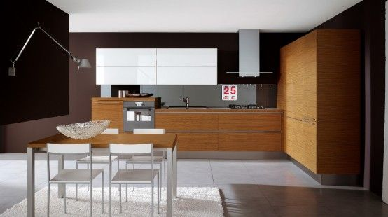 Glossy Black and White Kitchens with Wooden Elements - Oyster by Veneta Cucine