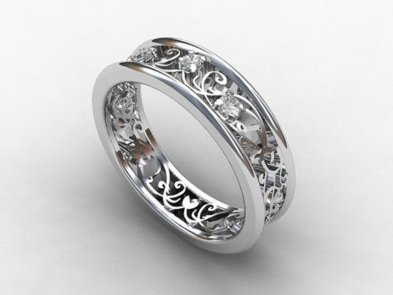 White sapphire filigree wedding ring made from white gold by TorkkeliJewellery, $1190.00