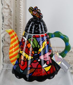 NEW LIFE TEAPOT WITH BUTTERFLY TOP by Romero Britto