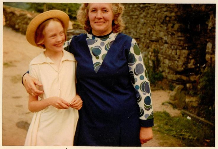 Sophie Neville with the real Mrs Jackson  ~ Lucy Batty of Bank Ground Farm in 1973