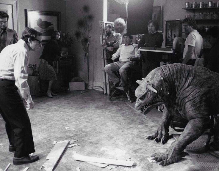 Rick Moranis, Ivan Reitman, Laszlo Kovacs and crew with the Terror Dog on the set of Ghostbusters