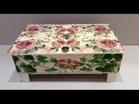 Cómo reciclar y decorar caja de frutas vintage - decoupage y craquelado - YouTube