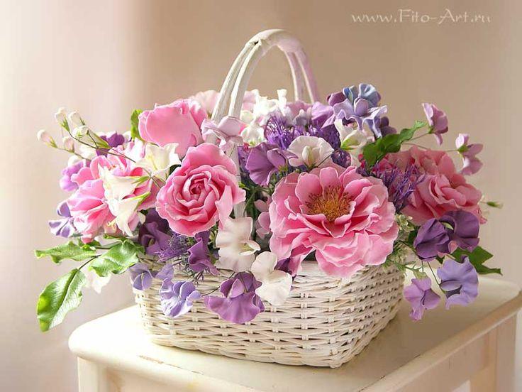 Композиции : Букет с розовыми розами в корзинке - Fito Art