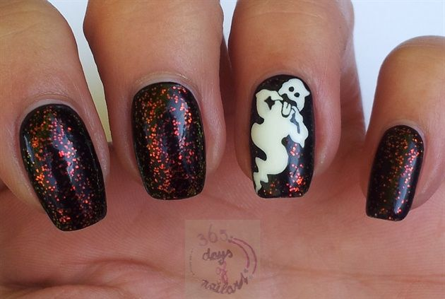 Nail art design 2 video | Tutorial nail art design | Aquarium nail art video | Nail art design 3 | Nail art designs for beginners | Halloween nails (ghost) by daysofnailartnl - Nail Art Gallery