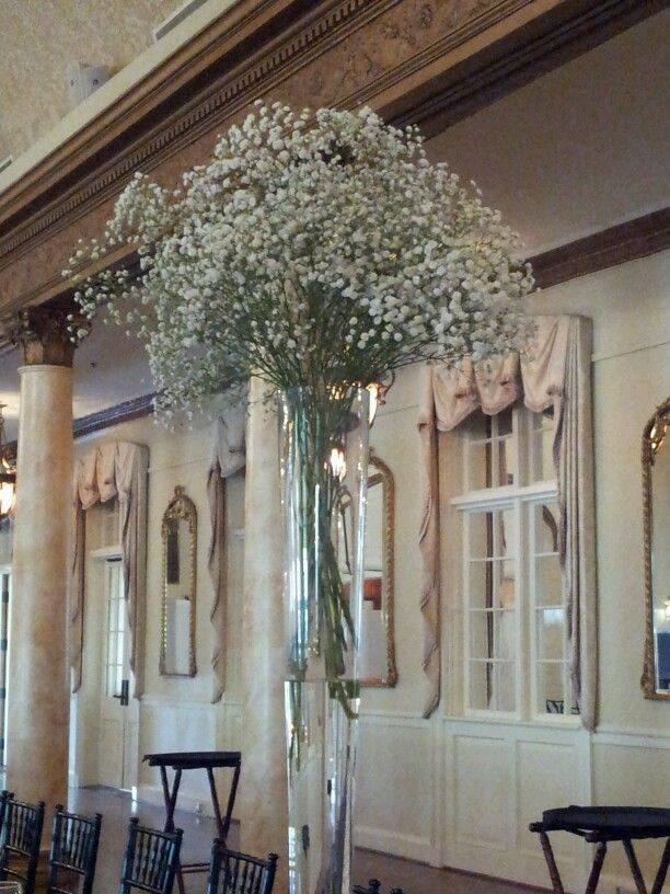 Tall Pilsner Vase With Fresh Babies Breath Wedding Centerpieces Knoxville Wedding Knoxville