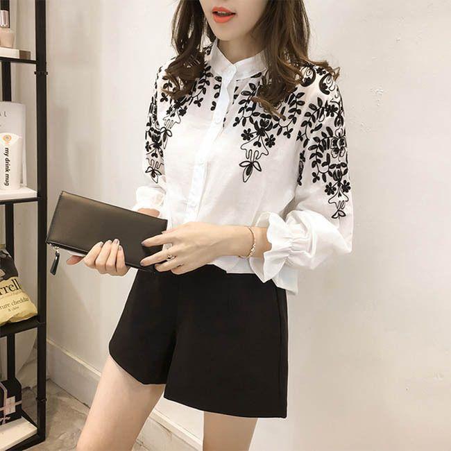 BUYMA.com お花の刺繍が素敵 ブラウス シャツ カントリー調 長袖 通勤(22976580)