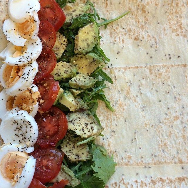 Via: @the_aspiring_cook   Breakfast Mountain Bread wrap with chia seeds, eggs, avocado, tomato and rocket   Healthy Recipe