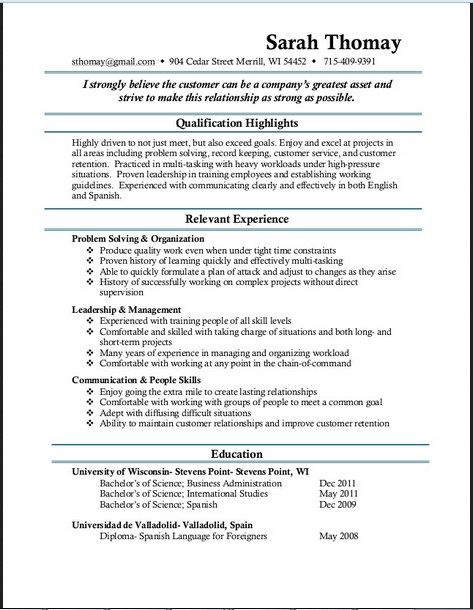 11 best Resume sample images on Pinterest Job resume, Resume and - skills and qualifications resume