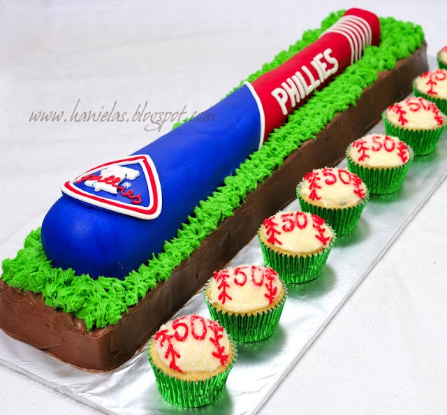 Phillies baseball bat cake