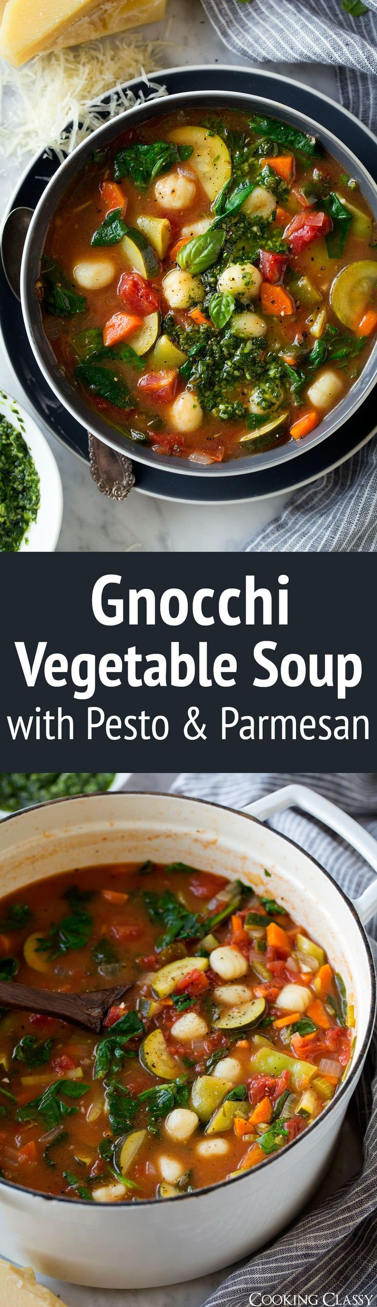 Gnocchi Vegetable Soup with Pesto and NO Parmesan - A hearty minestrone style