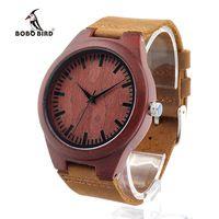 Бобо птица L15 hademade Природа Красные сандалии деревянные часы Мужские лучший подарок японский кварцевый механизм 2035 Relogio Masculino