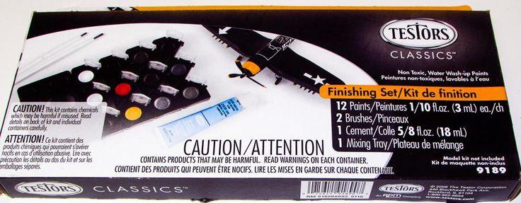 Testors 9189 Classics Finishing Set 12 colors 2 Brushes 1 Cement 1 Mixing Tray