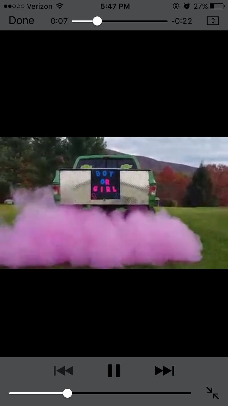 Cute Gender Reveal Colored Powder From Exhaust Kiddo