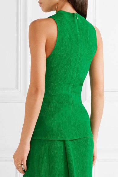 Protagonist - Plissé-crepe Top - Bright green - US10