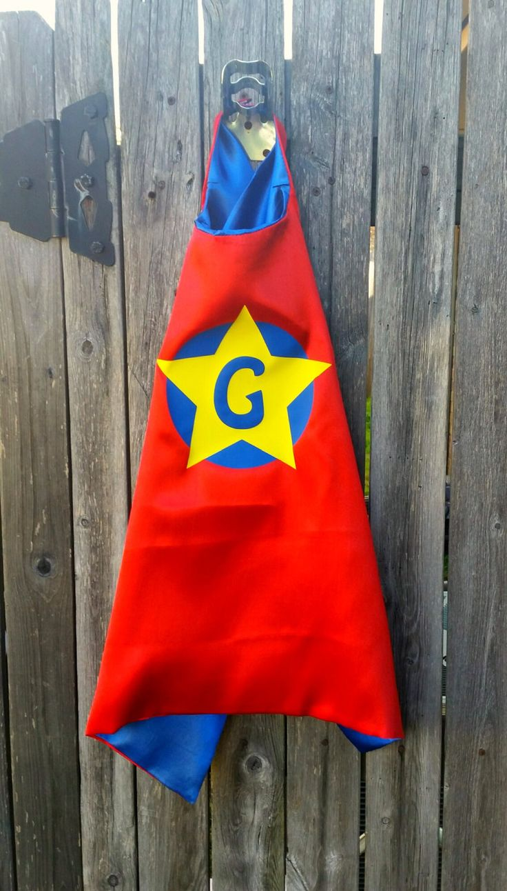 Kids Cape, Red Superhero cape w/blue under color, double layer of satin w/a blue vinyl circle & yellow star design ***MASKS SOLD SEPARATELY by TheCapeLady on Etsy