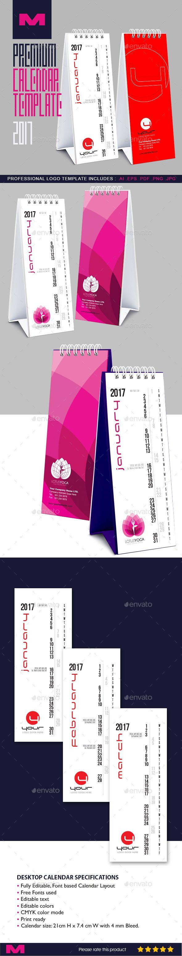 Premium Desktop Calendar Template 2017 — InDesign INDD #clean #corporate • Download ➝ https://graphicriver.net/item/premium-desktop-calendar-template-2017/19190613?ref=pxcr