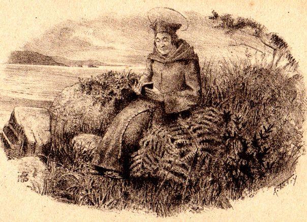 Saint Yves sur un amas de rochers au-dessus de la Lieue de Grève (A. Thiry)