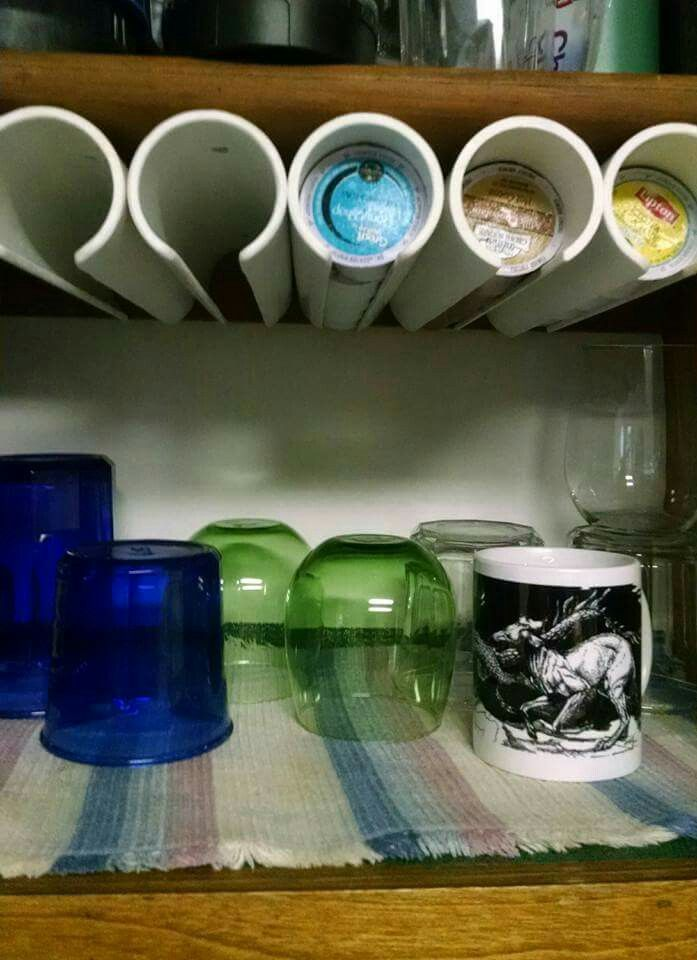 K cup storage using PVC