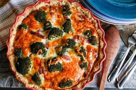 paj med julskinka och broccoli