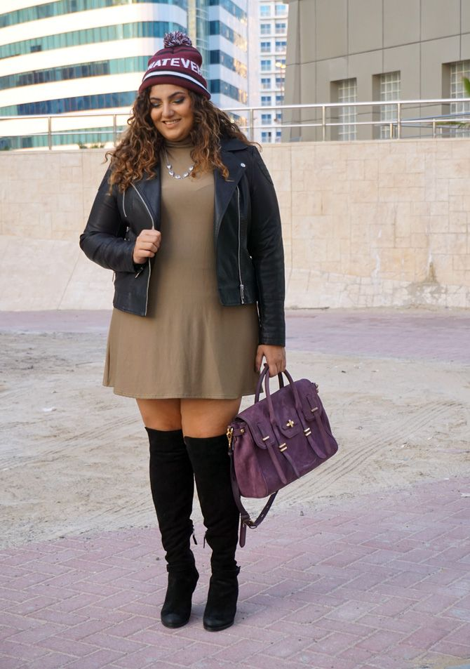 Dorothy Perkins leather jacket, Boohoo Plus turtle-neck swing dress, Dolce Vita Over the knee boots, Recebba Minkoff Jules satchel, Bershka beanie