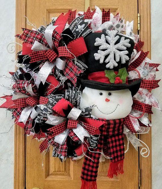 Christmas Wreath Snowman Wreath Christmas Wreath For Front Door Best Door Christmas Decoration Snow Christmas Wreaths Xmas Wreaths Christmas Mesh Wreaths