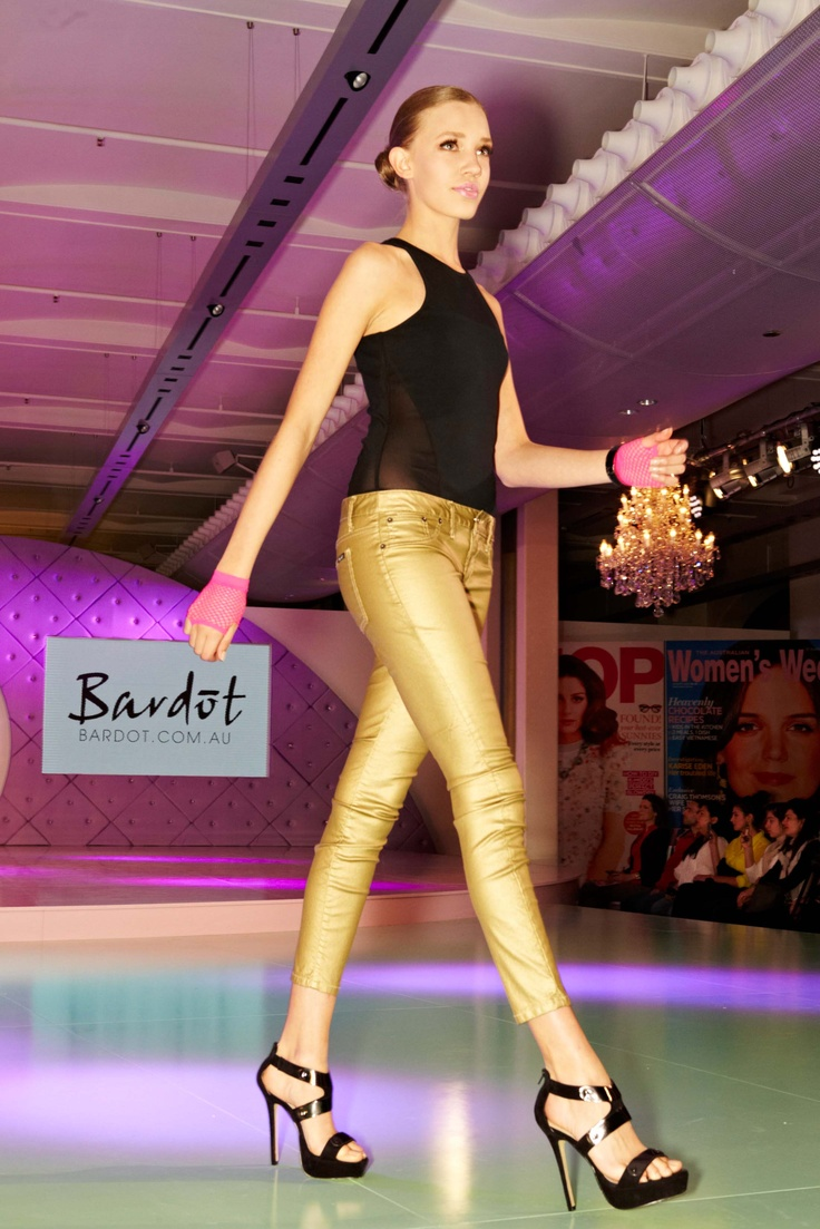 Gold Glamour jeans from Bardot @ 30 days of Fashion & Beauty
