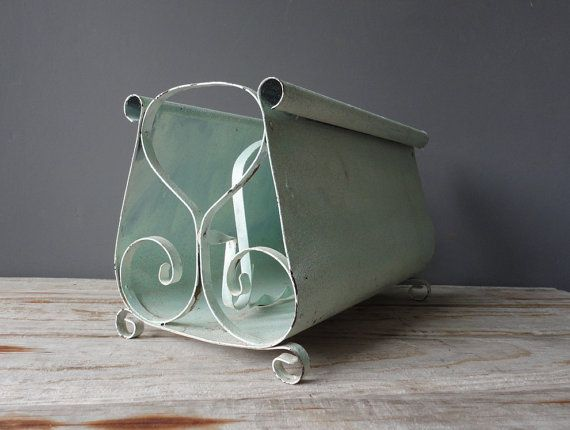 Chippy Mint Magazine Rack by OceanSwept on Etsy, $33.00