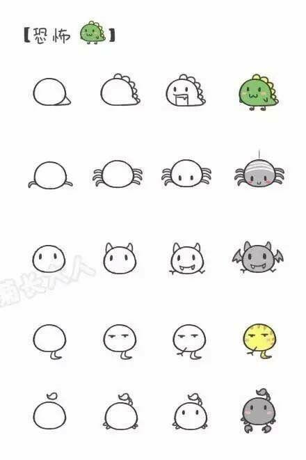 Creatures: dinosaur, spider, bat, snake, scorpion