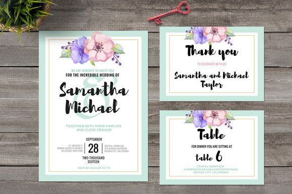 Pastel Wedding Invitation Set by@Graphicsauthor