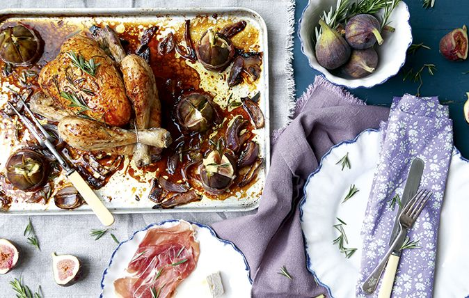 #AMW Fig rosemary and balsamic roasted chicken with roasted fig parcels