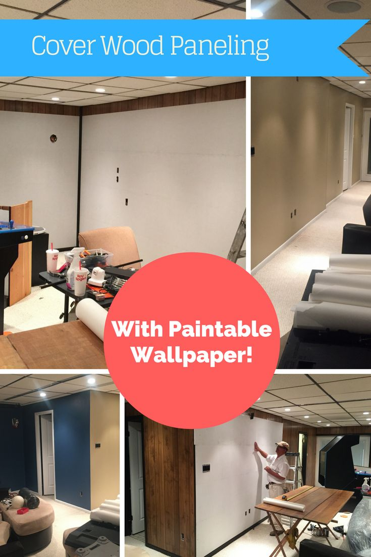 Using paintable wallpaper to cover wood paneling. A great option to cover wood paneling in any room in your house!
