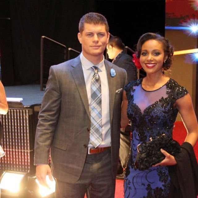WWE Superstar Cody Rhodes and his wife WWE Diva announcer Eden (Brandi Runnels) at the 2016 WWE Hall of Fame ceremony #WWE #wwecouples #RhodesDynasty