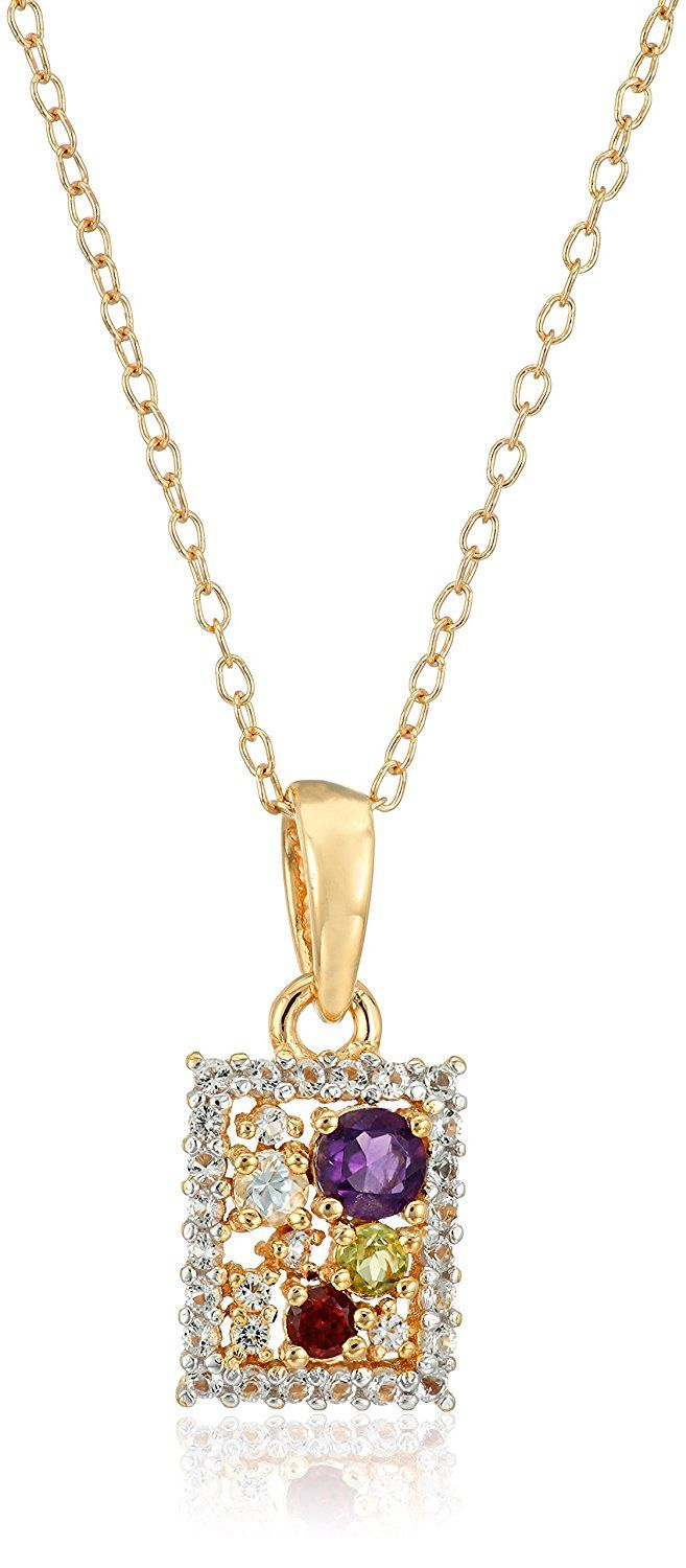 18k Yellow Gold and Rhodium Plated Sterling Silver Multi Gemstone Rectangular Pendant Necklace, 16' 2' Extender >>> Click image for more details. (This is an Amazon Affiliate link)
