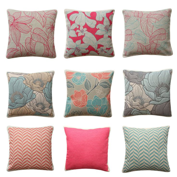 Floral Boho Pink Flowers Country Cushion Cover Chevron Pillow Cover 45cm