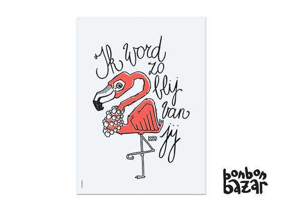 Poster -ik word zo blij van jij- 50x70cm - 3 versies: panda/beer/flamingo - gerecycleerd papier (300 gr) on Etsy, 15,00€
