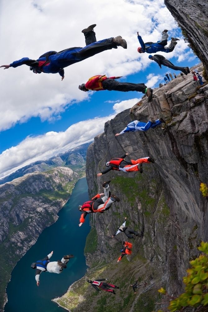 Wingsuit base jumping.