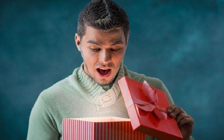 Man opening present