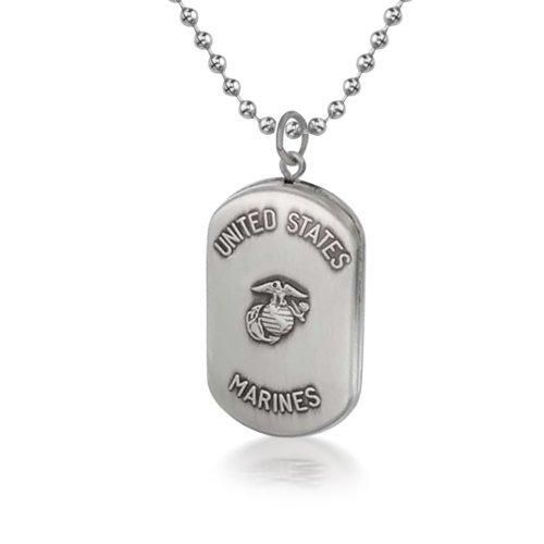Bling Jewelry Patriotic Sterling Silver US Marines Dog Tag Locket Bead Chain