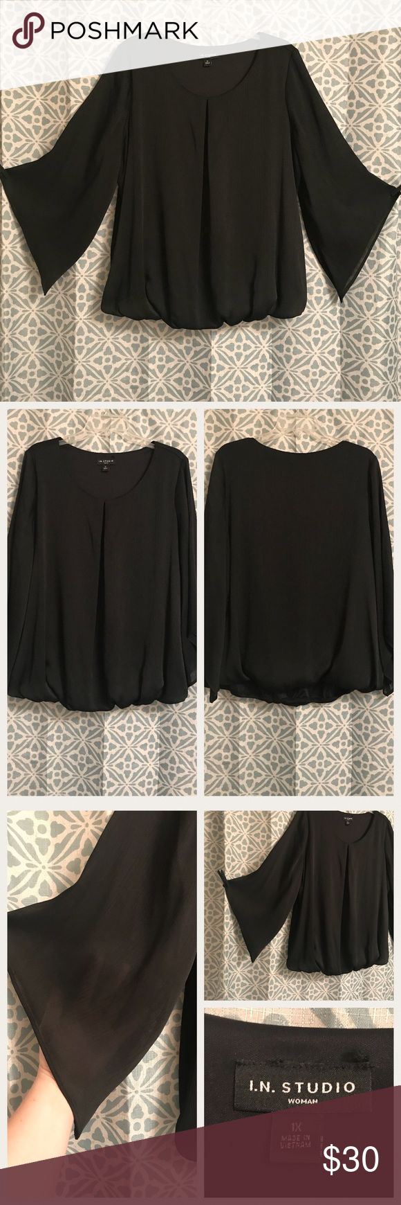 "I. N. Studio blouse Black blouse with a flattering ""A"" line pleat in front and slightly shear trapeze sleeves. Dillard's find.   Only worn twice, just not for me. Brand new condition!!   💕Pair with a statement necklace for a quick and easy work outfit💕 I.N. Studio Tops Blouses"