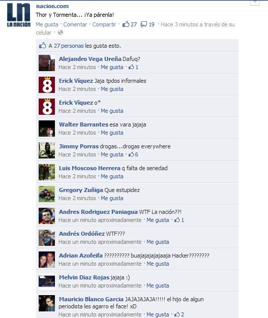 Algo pasó con la fanpage de La Nación de Costa Rica. Al parecer, el Community Manager se equivocó de cuenta al actualizar desde el móvil y escribió: