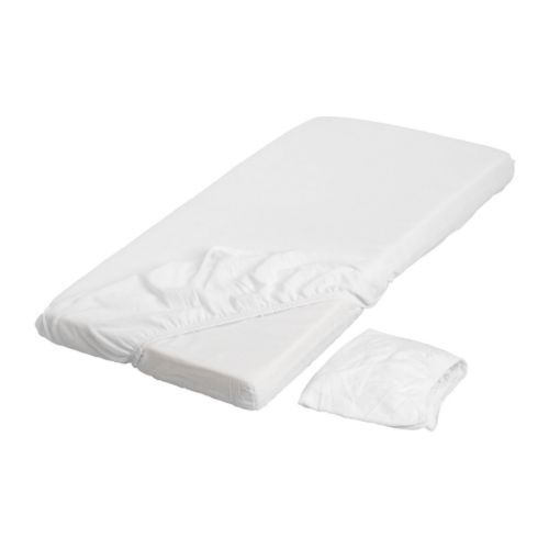 LEN Crib fitted sheet IKEA Elastic keeps the sheet stretched smooth around the mattress. $14.99 for 2 pack.