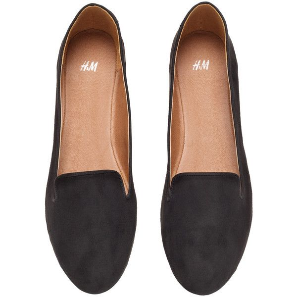 H&M Loafers ($15) ❤ liked on Polyvore featuring shoes, loafers, flats, flat loafer shoes, loafer shoes, loafers & moccasins, flat pumps and h&m shoes
