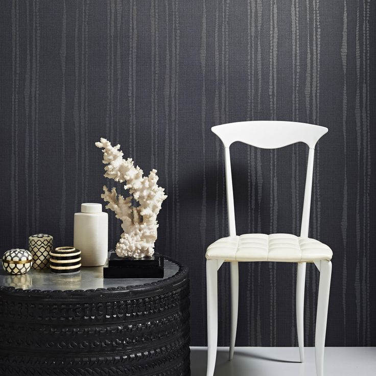 Kelly Hoppen Laddered Stripe Wallpaper, Midnight