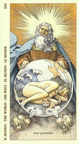 The World - an unusual representation. This card means rebirth, celebration of an accomplishment that has helped us grow. Giving birth to the true self.: