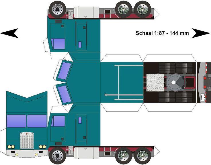 Lorry Papercraft | Kenworth-K100-Cabover-blauwgroen