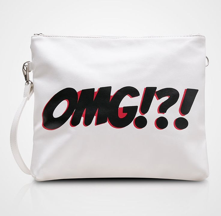 """Dales Clutch by Harlow. Dales It's an unique casual clutch bag with """"OMG"""" word prints in front and detachable long strap. White clutch with a OMG typography print with black color, this cool clutch can be a sling bag. http://www.zocko.com/z/JG0ih"""