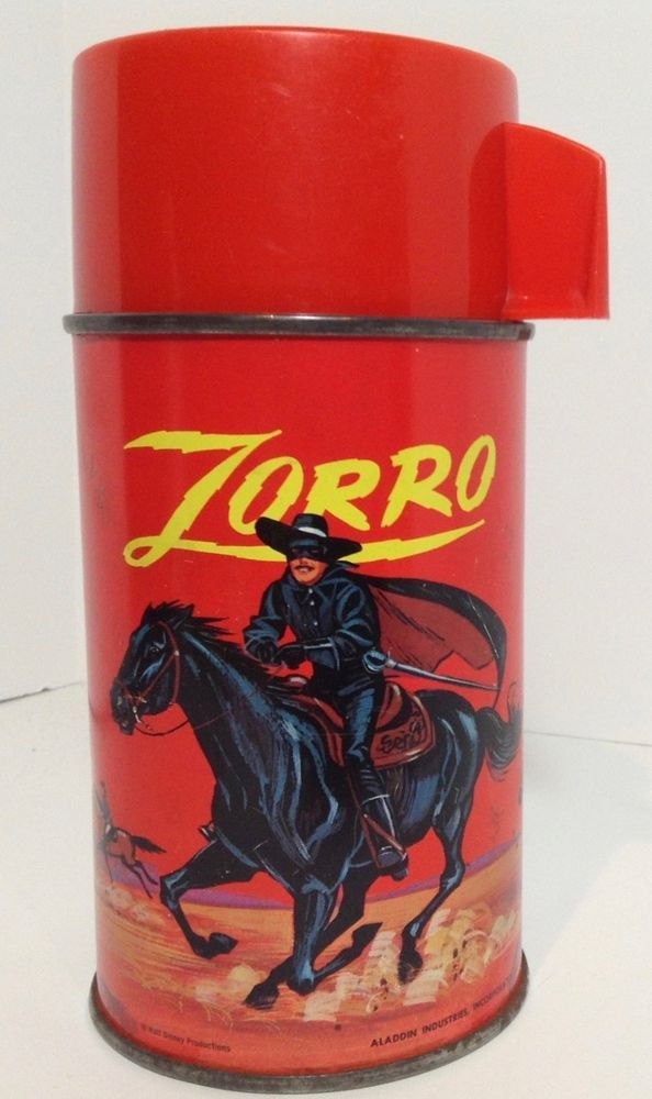 Vintage Zorro Aladdin Thermos 1960s Red Screwtop Cup Complete Glass Interior WDP | Collectibles, Pinbacks, Bobbles, Lunchboxes, Lunchboxes, Thermoses | eBay!